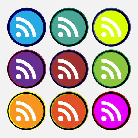 rss feed: RSS feed  icon sign. Nine multi-colored round buttons. Vector illustration Illustration