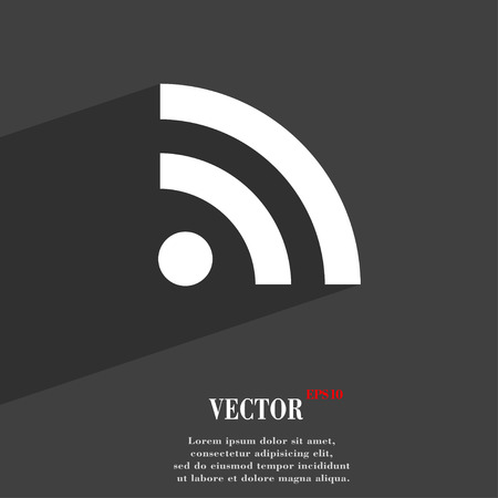 web feed: RSS feed  icon symbol Flat modern web design with long shadow and space for your text. Vector illustration Illustration