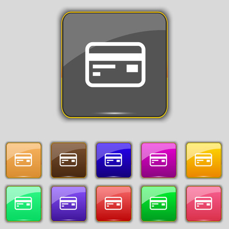debit: Credit, debit card icon sign. Set with eleven colored buttons for your site. Vector illustration Illustration