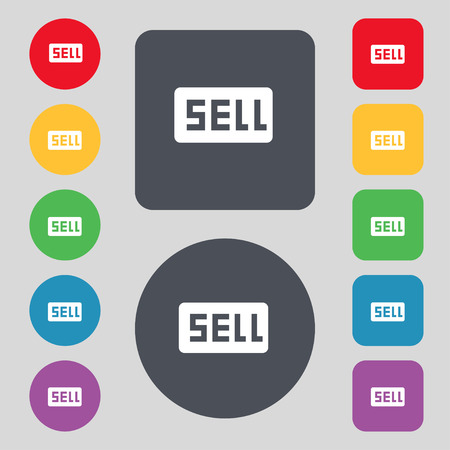 contributor: Sell, Contributor earnings icon sign. A set of 12 colored buttons. Flat design. Vector illustration