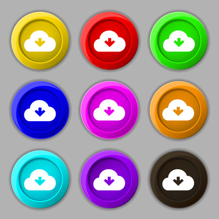 on cloud nine: Download from cloud icon sign. symbol on nine round colourful buttons. Vector illustration