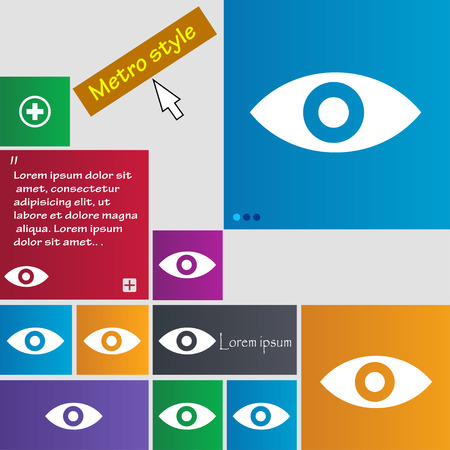 intuition: Eye, Publish content, sixth sense, intuition icon sign. Metro style buttons. Modern interface website buttons with cursor pointer. Vector illustration Illustration