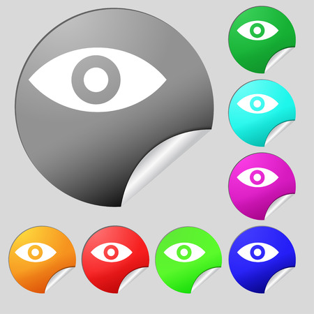 sixth sense: Eye, Publish content, sixth sense, intuition  icon sign. Set of eight multi-colored round buttons, stickers. Vector illustration