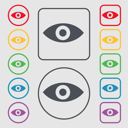 sixth sense: Eye, Publish content, sixth sense, intuition icon sign. symbol on the Round and square buttons with frame. Vector illustration