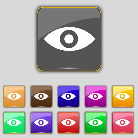 the sixth sense: Eye, Publish content, sixth sense, intuition icon sign. Set with eleven colored buttons for your site. Vector illustration Illustration