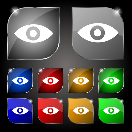 sixth sense: Eye, Publish content, sixth sense, intuition icon sign. Set of ten colorful buttons with glare. Vector illustration