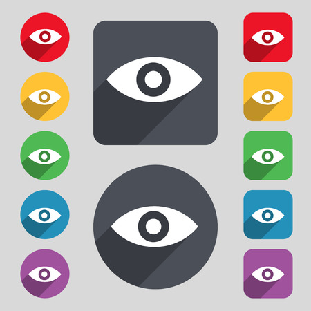 intuition: Eye, Publish content, sixth sense, intuition icon sign. A set of 12 colored buttons and a long shadow. Flat design. Vector illustration