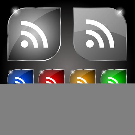 wireless network: Wifi, red inal�mbrica icono de la muestra. Conjunto de diez botones de colores con reflejos. Ilustraci�n vectorial