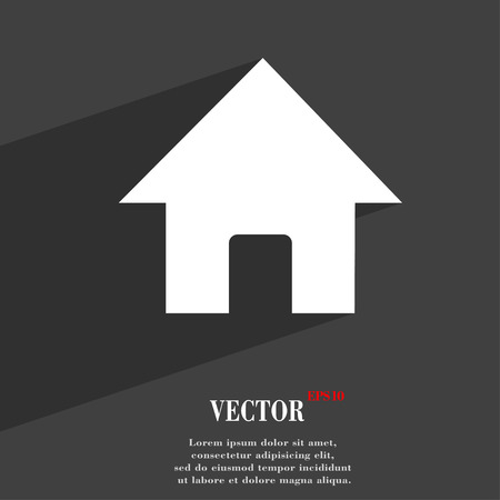 page long: Home, Main page  icon symbol Flat modern web design with long shadow and space for your text. Vector illustration