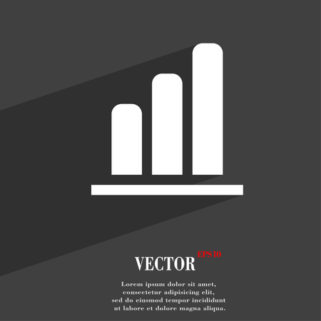upturn: Growth and development concept. graph of Rate  icon symbol Flat modern web design with long shadow and space for your text. Vector illustration