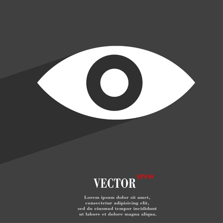 intuition: Eye, Publish content, sixth sense, intuition  icon symbol Flat modern web design with long shadow and space for your text. Vector illustration