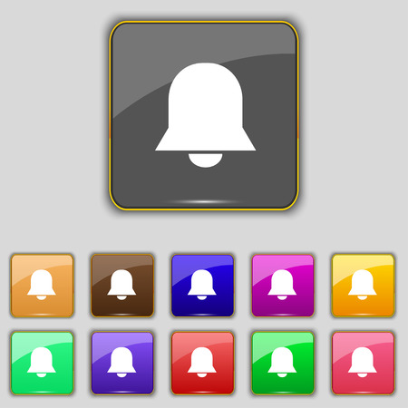 wake up call: Alarm bell icon sign. Set with eleven colored buttons for your site. Vector illustration Illustration