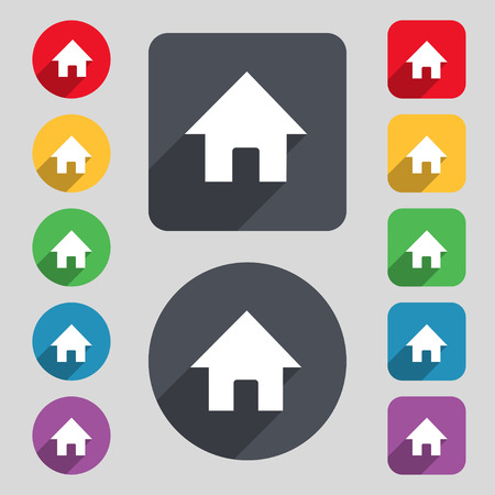 main: Home, Main page icon sign. A set of 12 colored buttons and a long shadow. Flat design. Vector illustration Illustration