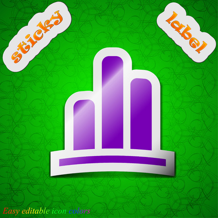 upturn: Growth and development concept. graph of Rate  icon sign. Symbol chic colored sticky label on green background. Vector illustration Illustration