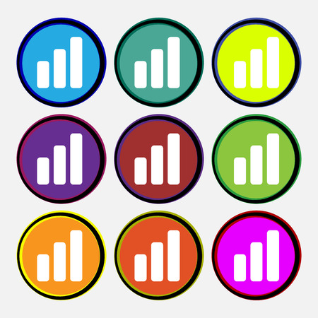 mortgage rates: Growth and development concept. graph of Rate  icon sign. Nine multi-colored round buttons. Vector illustration Illustration