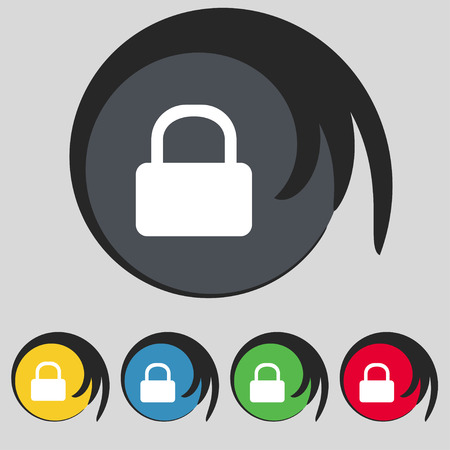 pad lock: Pad Lock icon sign. Symbol on five colored buttons. Vector illustration