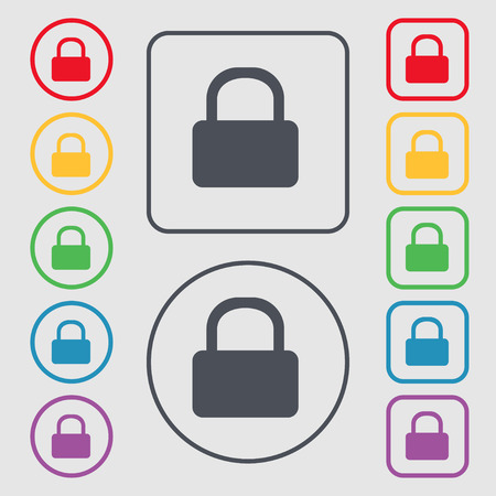 pad lock: Pad Lock icon sign. symbol on the Round and square buttons with frame. Vector illustration Illustration