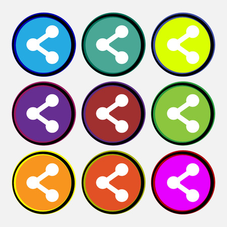 regular tetragon: Share  icon sign. Nine multi-colored round buttons. Vector illustration
