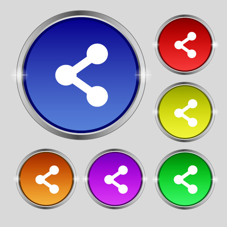 regular tetragon: Share icon sign. Round symbol on bright colourful buttons. Vector illustration Illustration