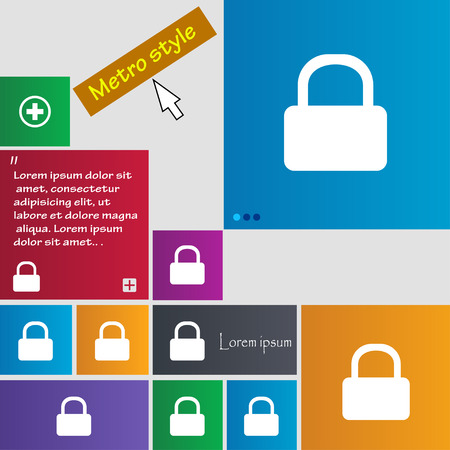 pad lock: Pad Lock icon sign. Metro style buttons. Modern interface website buttons with cursor pointer. Vector illustration