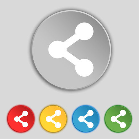 regular tetragon: Share icon sign. Symbol on five flat buttons. Vector illustration Illustration
