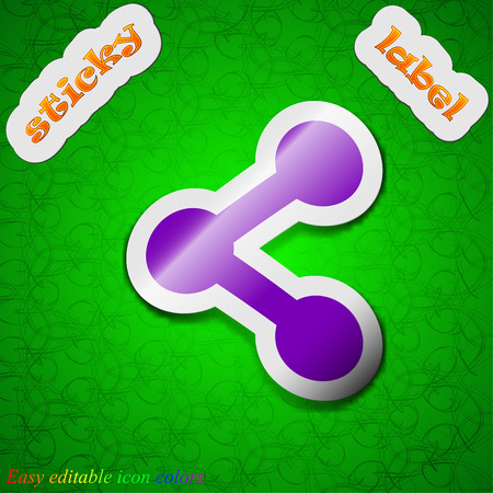 regular tetragon: Share  icon sign. Symbol chic colored sticky label on green background. Vector illustration