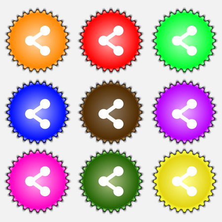 regular tetragon: Share  icon sign. A set of nine different colored labels. Vector illustration