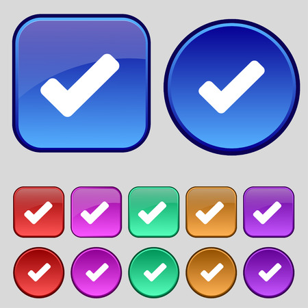 verify: Check mark, tik icon sign. A set of twelve vintage buttons for your design. Vector illustration