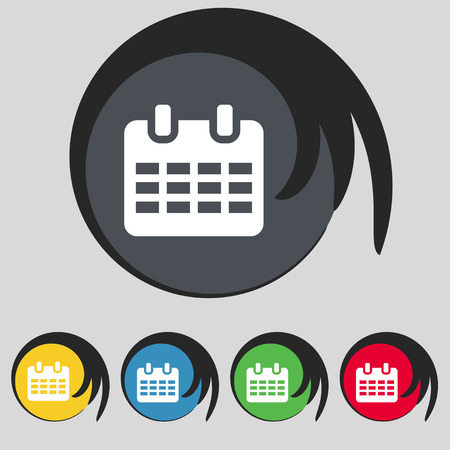 reminder icon: Calendar, Date or event reminder  icon sign. Symbol on five colored buttons. Vector illustration Illustration