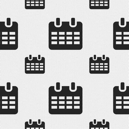 event planning: Calendar, Date or event reminder  icon sign. Seamless pattern with geometric texture. Vector illustration