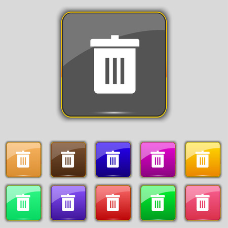 utilization: Recycle bin, Reuse or reduce icon sign. Set with eleven colored buttons for your site. Vector illustration Illustration