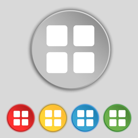 thumbnails: List menu, Content view options icon sign. Symbol on five flat buttons. Vector illustration