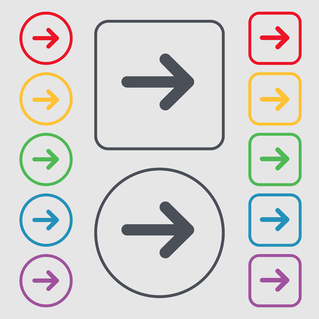 next icon: Arrow right, Next icon sign. symbol on the Round and square buttons with frame. Vector illustration Illustration