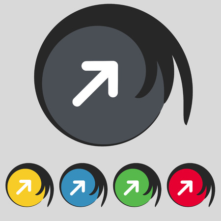 maximize: Arrow Expand Full screen Scale icon sign. Symbol on five colored buttons. Vector illustration