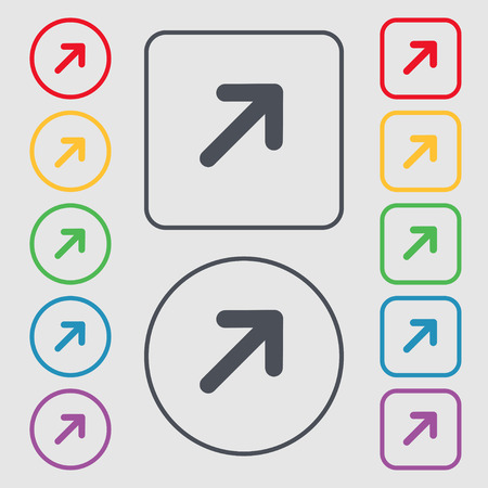 expand: Arrow Expand Full screen Scale icon sign. symbol on the Round and square buttons with frame. Vector illustration Illustration