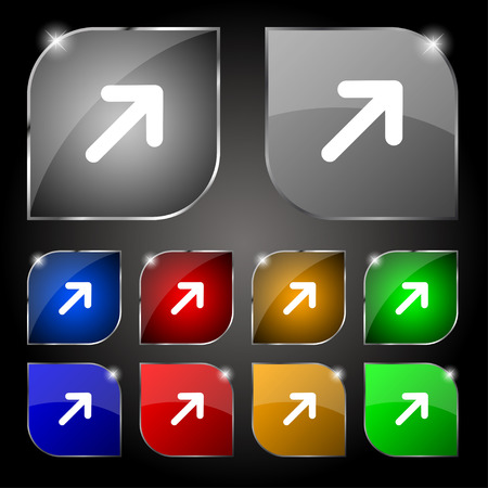 expand: Arrow Expand Full screen Scale icon sign. Set of ten colorful buttons with glare. Vector illustration