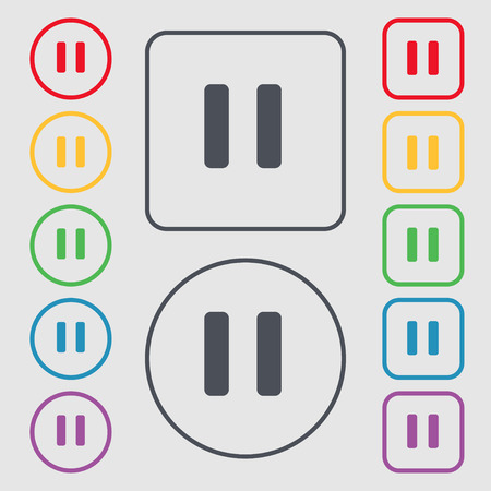 pause icon sign. symbol on the Round and square buttons with frame. Vector illustration Vector