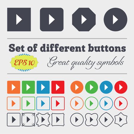 long play: play button  icon sign Big set of colorful, diverse, high-quality buttons. Vector illustration