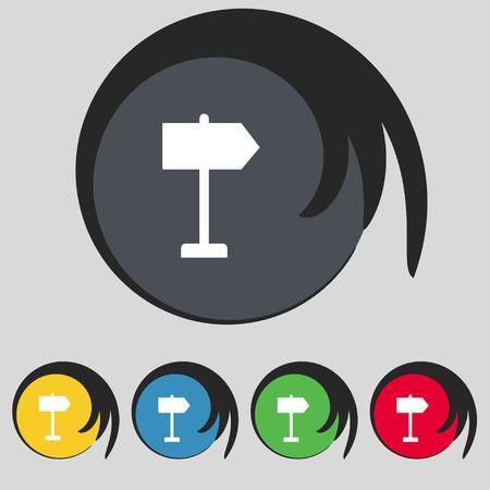 designator: Signpost con sign. Symbol on five colored buttons. Vector illustration