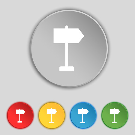 designator: Signpost icon sign. Symbol on five flat buttons. Vector illustration