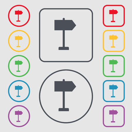 designator: Signpost icon sign. symbol on the Round and square buttons with frame. Vector illustration