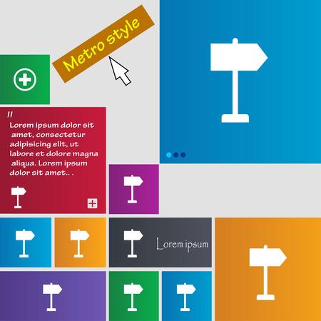 designator: Orientaci�n de los iconos de signo. Botones de estilo Metro. Sitio web interfaz modernos botones con puntero del cursor. Ilustraci�n vectorial Vectores