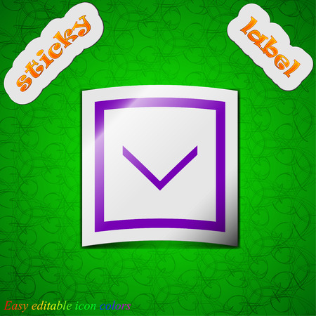 down load: Arrow down, Download, Load, Backup  icon sign. Symbol chic colored sticky label on green background. Vector illustration