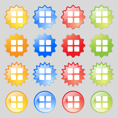 thumbnails: List menu, Content view options icon sign. Big set of 16 colorful modern buttons for your design. Vector illustration