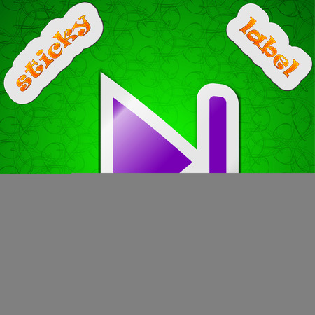 rewind: next track  icon sign. Symbol chic colored sticky label on green background. Vector illustration