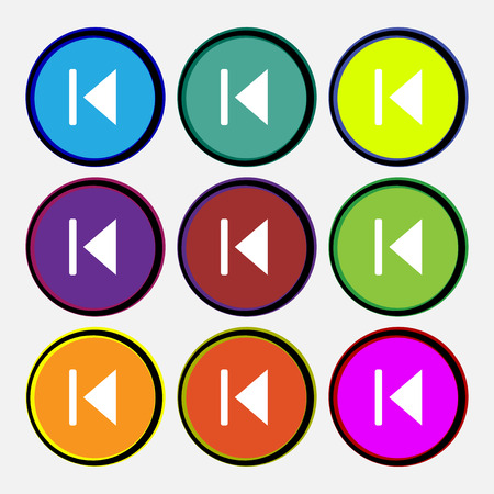 rewind: fast backward  icon sign. Nine multi-colored round buttons. Vector illustration