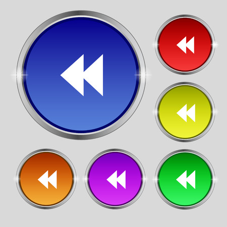 rewind: rewind icon sign. Round symbol on bright colourful buttons. Vector illustration Illustration