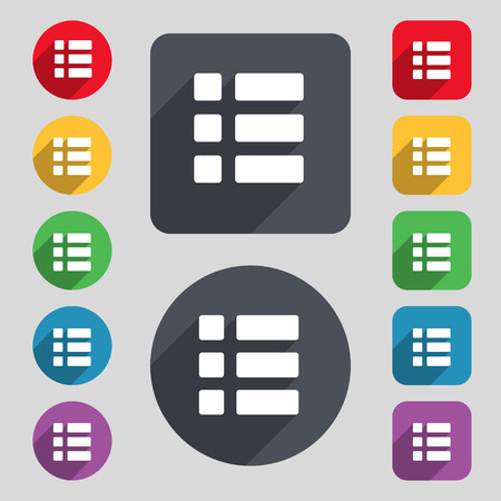 thumbnails: List menu, Content view options icon sign. A set of 12 colored buttons and a long shadow. Flat design. Vector illustration