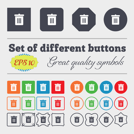 big bin: Recycle bin, Reuse or reduce  icon sign Big set of colorful, diverse, high-quality buttons. Vector illustration