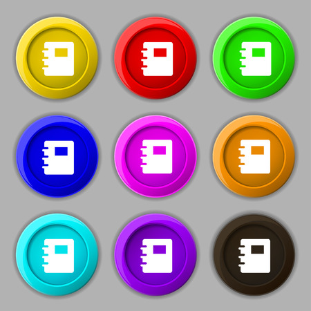 reading app: Book icon sign. symbol on nine round colourful buttons. Vector illustration Illustration